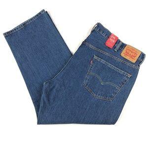 Levis 505 Mens Straight Leg Dark Wash Jeans 48x29